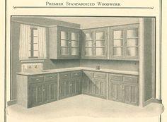 Kitchen dressers, from Premier Standardized Woodwork catalog, circa 1920's.
