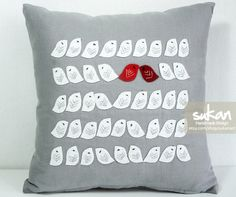 cute birdie pillow...want the birds in yellow though.