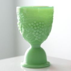 Jadite Egg Cup with Grapes Detail