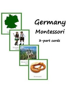 Montessori Printables. These cards will help your child to explore and know more about Germany! They can be used during Europe study. This is 3-part cards that include Germany map, capital, landmarks and other! The color coding corresponds to Montessori Europe map. Material consists of:  -10 name and picture cards -10 picture cards -10 name cards