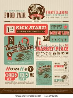 Retro Food Advertisement Layout Design Template by yienkeat, via ShutterStock