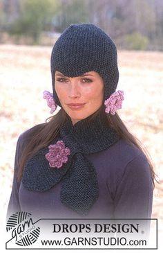 """DROPS Schaatsmuts en sjaal van """"Alaska"""" met gehaakte bloemen van """"Eskimo"""". ~ DROPS Design"""