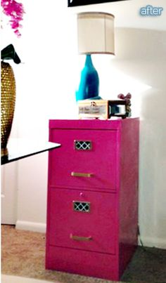 Even an old file cabinet got in on the fun. Larissa picked it up at Goodwill for $5, used two cans of pink spray paint plus a little gold acrylic paint on the hardware and shelf liner to dress up the labels.  Grand total: $13.