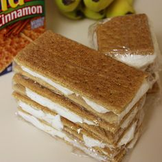Graham Cracker Ice-Cream Sandwiches:  *You can add 1 small box of instant pudding (any flavor) to the cool-whip before spreading on the graham crackers.  **These are also good with chocolate graham crackers.