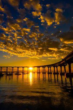 Coronado Bridge at sunrise, Coronado Island, San Diego, CA