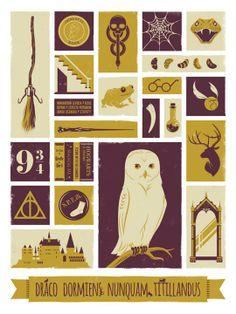 art inspir, harri potter, hogwart, art prints, harry potter, posters, object poster, children book, jeff langevin