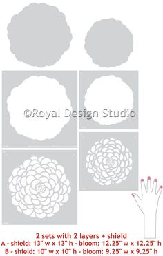 Possible Stencil for BBQ (cement) Countertop, followed by a clear sealer. Medium Bloomers Wall Motif Stencil Set by Bonnie Christine for Royal Design Studio