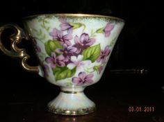 SALE..Vintage Luster-ware Demitasse February Violets