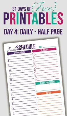 Free Half Page Daily Schedule Printable