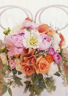 Pale Pink Dahlias + Orange Rose #WeddingBouquet I Boka