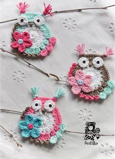 cute crocheted owls #decor #home  If you see an idea anywhere chances are we can make it, or we know someone who can! Just visit us on our facebook page or call us 765-744-1080 (10:00am to 6:00pm EST)  Find out more about me at: https://www.facebook.com/pages/Rustic-Farmhouse-Decor crochet decoration, idea, hair clips, owl crafts, crochet applique pattern, crochet owls, crocheted owls, craft night, owl patterns