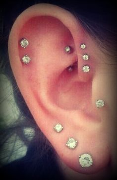 triple forward helix! I love this so much. Small studs are all I like to wear. Might have to get a new piercing soon. So adorable.