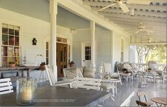 Porch. Houston interior designer Beverly Jacomini's Round Top area farmhouse, featured at Cote de Texas