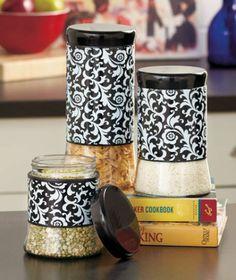 Set of 3 Black White Damask Style Print Waverly Glass Kitchen Canister Set   eBay
