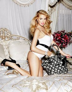 fashion, model, kate upton, bed, guess, kateupton, accessories, ad campaigns, bags