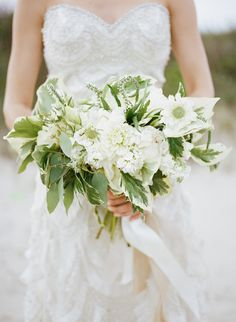 Green and white bridal bouquet | Archetype Studio | see more on: http://burnettsboards.com/2014/10/mermaid-inspired-elopement/