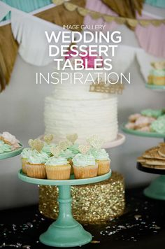Glittering gold hearts are used to top mint colored cupcakes. Check out the gallery of over 100 beautiful dessert tables.