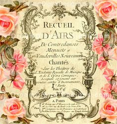 Vintage Rose French Ephemera Digital by DreamDigitalDownload, $3.50 vintage ephemera, vintage rose printables, collag, diy gifts, handmade gifts, french vintage, vintage roses, altered art, vintag rose