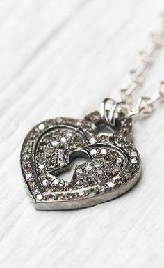 Diamond Heart Charm Necklace Sterling Silver Key Lock
