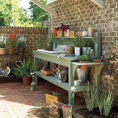 Potting Bench garden ideas, yard, potting sheds, pot bench, garden benches, potting tables, potting benches, patio, sink