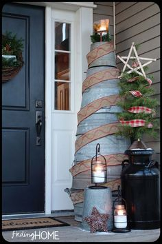 The Old Painted Cottage Unique Goods and Curious Finds ~ Christmas porch, so pretty