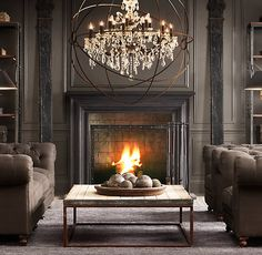 Go Dark & Dramatic. Charcoal walls, upholstery, and area rugs. Black mouldings. Interior Design: Restoration Hardware.