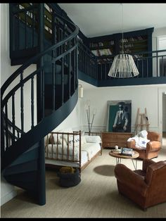 Open living room and library space with cool spiral staircase.