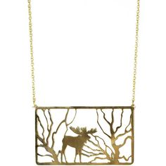 Monserat De Lucca Brass Moose In Forest Necklace ($55) ❤ liked on Polyvore