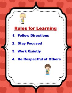 "Here's a Free Back to School ""Rules for Learning"" poster.  Use it on a bulletin board, centers, collaborative groups, or however you choose."