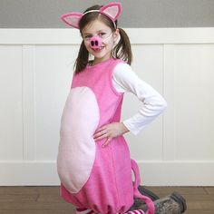 Make your own fleece Little Pig Costume with a fluffy belly, a curly tail, perky ears, and a knobby snout. Fun for costuming or dress-up!