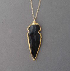 Black Obsidian Arrowhead with gold