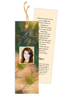 Beautiful Floral inspired memorial bookmark template design and layout you can download and edit.