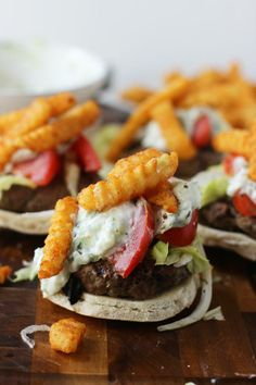 Gyro Burgers with Taziki Sauce and Seasoned French Fries
