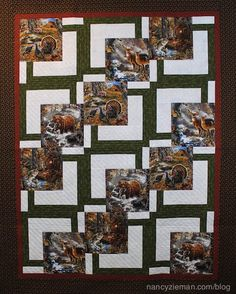 """Stitch 18"""" blocks to make dramatic quilts. Featured quilt pattern is """"BQ"""" by Debbie Bowles sewn by Sharen Dahlke featured on Nancy Zieman's Blog."""