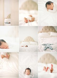 I like this series.  I also like the idea of taking a shot of just the outfit on the bed.  #newborn #photography