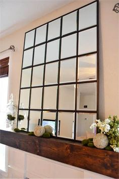 DIY mirror.. make one big mirror using lots of small mirrors from $tree!