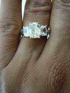 Three Stone Diamond RIng | Daussi Cushion Cut Diamond | Yellow Diamond Engagement Ring