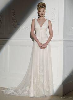 I love the neckline! Novia D'art wedding dress 2011 bridal collection - V-neck sheath gown