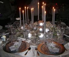 Christmas tea table - silver and candles