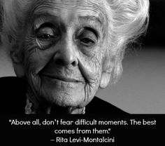 RIP, Nobel prize winner Rita Levi-Montalcini,103 12/12. She earned a degree in medicine. Her career was cut short when Mussolini barred those of Jewish descent from professional careers. She stayed Italy to continue her work. She built a research unit in her home and was a physician during the war. In 1986,she and Stanley Cohen were awarded the Nobel Prize in medicine for isolating Nerve Growth Factor from tumor cells. Retired in 1977, but never stopped working as a scientist or educator.