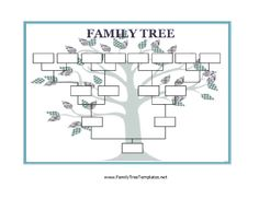 Use this Blank Family Tree with stylized leaves to collect and display information about your family. Free to download and print
