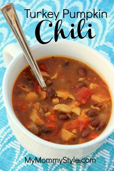 Turkey Pumpkin Chili, great recipe for any leftover turkey you might have after Thanksgiving.