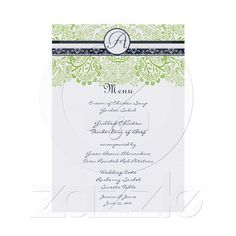 could be an invite instead of menu - $1.41/each for 100 or more. Simple decoration across the top    #zazzle.com