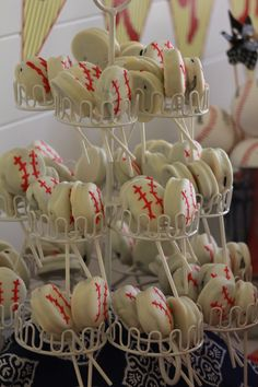 White chocolate covered oreo baseballs!! Perfect for end of season party!