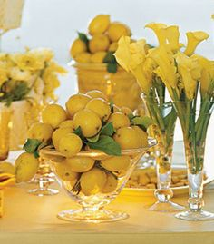 Fresh yellow flowers, lemons, fruit, table scapes, homes, centerpieces, lemon yellow, color themes, bowls