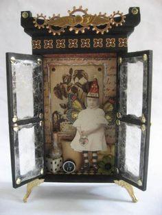 media cabinet, altar, steampunk fairi, shadow box, alter matchbox, fairi cabinet