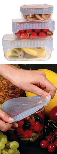 Silicone food cover // stretchy and reusable, better than plastic cling wrap.