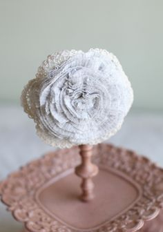 """Cassidy Gray Hair Clip By Petit Plume 22.99 at shopruche.com. Indie designed by Petit Plume, this soft heather gray rosette hair clip is accented with cream crochet details. Can also be worn as a brooch.5"""" wide, 2.5"""" alligator clip"""