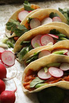 brais chicken, chicken tacos, taco recipes