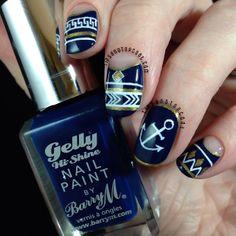 Tips and Topcoat: Nautical Tribal #nail #nails #nailart